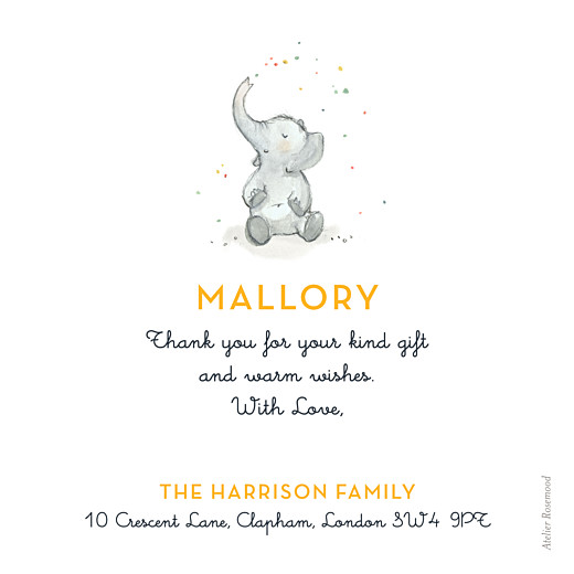 Baby Thank You Cards Elephant family yellow