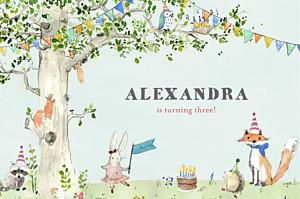 Woodland storybook blue boys kids party invitations