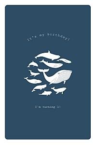 Most marvellous whale blue boys kids party invitations