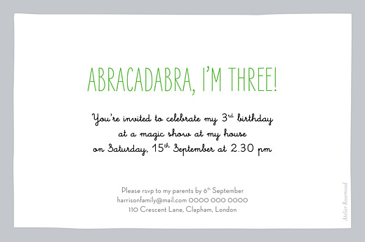 Kids Party Invitations Abracadabra gray - Page 2