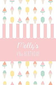 Ice cream pink girls kids party invitations