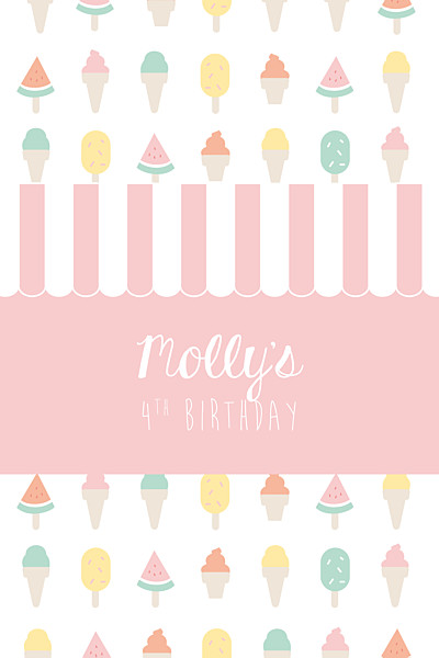 Kids Party Invitations Ice cream pink finition
