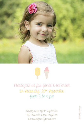 Kids Party Invitations Ice cream pink - Page 2