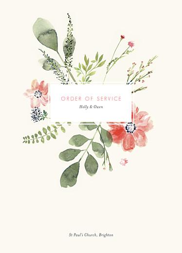 Wedding Order of Service Booklets Spring blossom beige