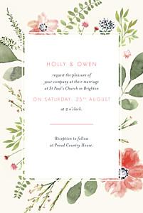 Spring blossom cream red wedding invitations