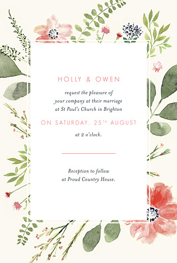 Wedding Invitations Spring blossom cream
