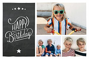Slate black boys kids party invitations