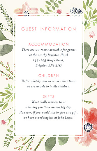 Guest Information Cards Spring blossom cream
