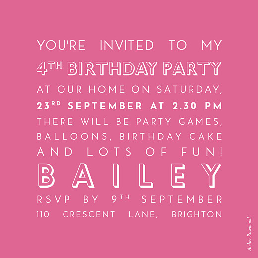 Kids Party Invitations The photo pink - Page 2
