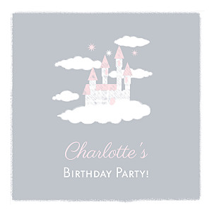 Castle in the clouds grey photo kids party invitations
