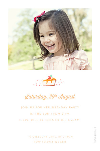 Kids Party Invitations Sweet summer orange