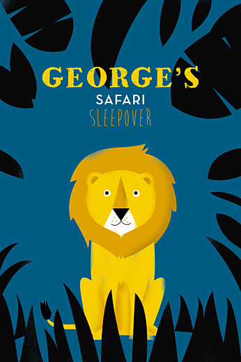 儿童派对邀请Safari的蓝色和黄色