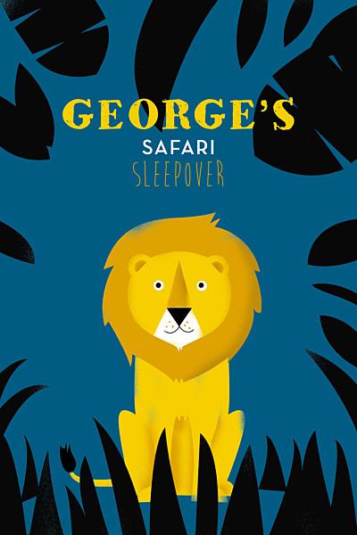 儿童派对邀请Safari的蓝色和黄色FINITION