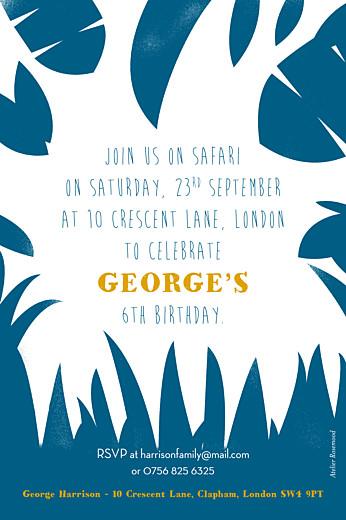 儿童派对邀请Safari的蓝色和黄色 - 第2页