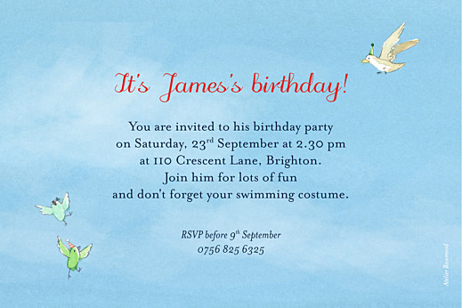 Kids Party Invitations Summer storybook blue - Page 2