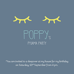 Pyjama party blue photo kids party invitations