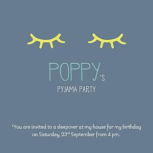 Pyjama party blue girls kids party invitations