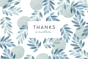 With pictures summer night (foil) blue wedding thank you cards