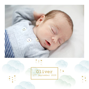 Mist blue boys baby announcements