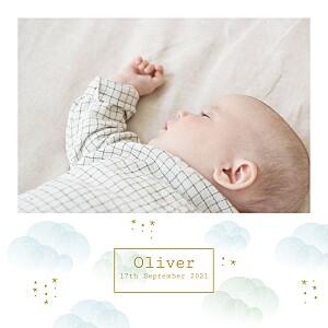 Mist blue girls baby announcements