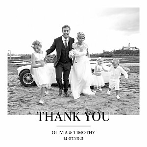 Modern chic white wedding thank you cards