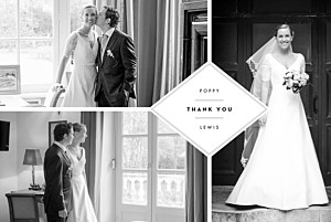 Our big day (4 pages) white multi photo wedding thank you cards