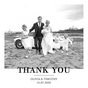 Modern chic 4 pages white photo wedding thank you cards