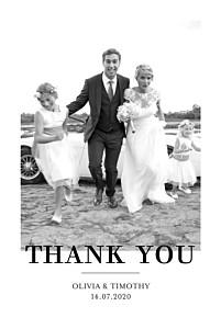 Modern chic portrait white wedding thank you cards