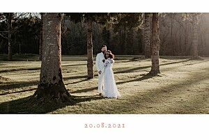 Simple banner landscape white wedding thank you cards