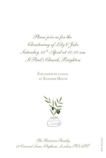 Christening Invitations Olive branch white - Page 2