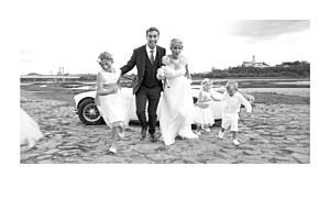 Simple photo landscape (foil) white wedding thank you cards