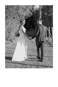 Gold foil simple photo portrait 4p (foil) white wedding thank you cards