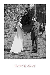Simple photo portrait 4 pages white wedding thank you cards