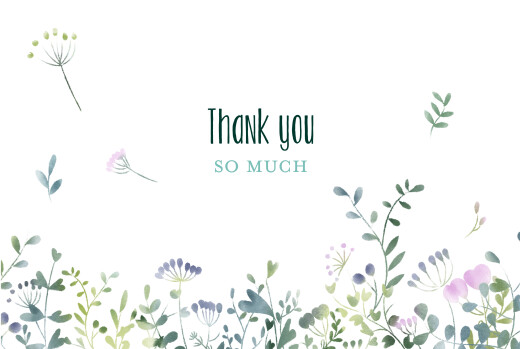 Wedding Thank You Cards Watercolour meadow (4 pages) blue