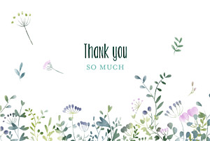 Watercolour meadow (4 pages) pink purple wedding thank you cards