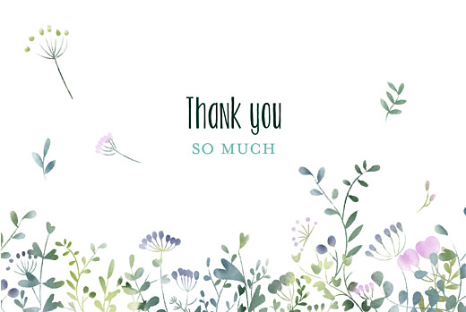 Wedding Thank You Cards Watercolour meadow (4 pages) pink