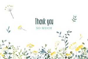 Wedding Thank You Cards Watercolour meadow (4 pages) yellow