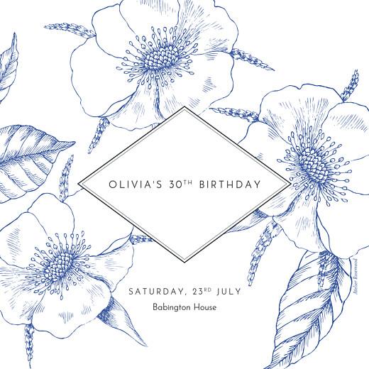 Birthday Invitations Engraved chic blue