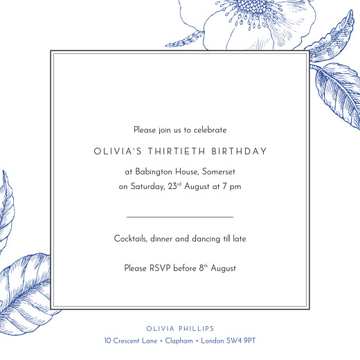 Birthday Invitations Engraved chic blue - Page 2