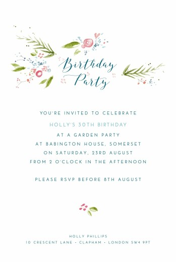Birthday Invitations One spring day blau