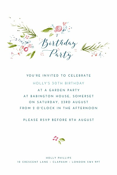 Birthday Invitations One spring day blau finition