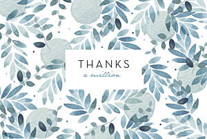 Summer night (4 pages) blue wedding thank you cards