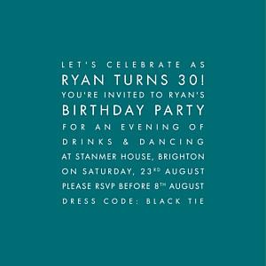Modern peacock blue birthday invitations