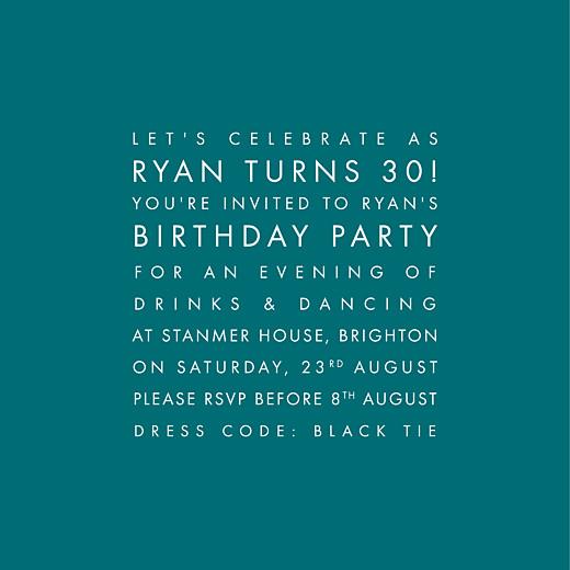 Birthday Invitations Modern peacock blue