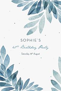 Summer night (foil) blue foil birthday invitations