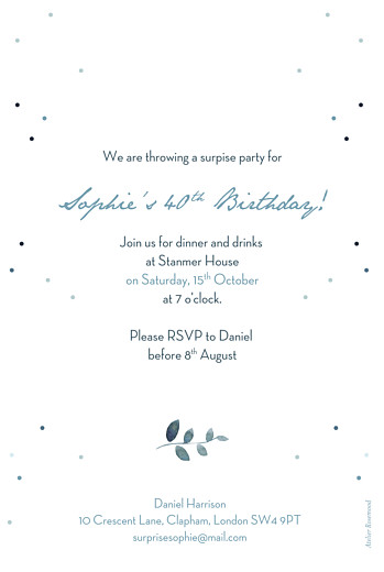 Birthday Invitations Summer night (foil) blue - Page 2