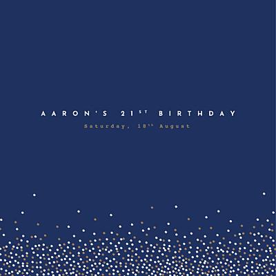 Birthday Invitations Confetti blue finition
