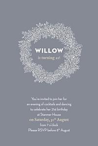 Baby's breath grey birthday invitations