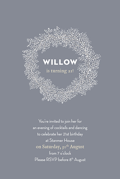 Birthday Invitations Baby's breath grey finition