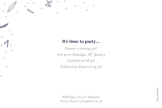 Birthday Invitations Elegant foliage (foil) midnight blue - Page 2
